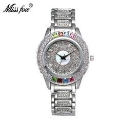 3f70146ad New Hot Austria Crystal Timepiece Full Diamond Best Womens Watch Brand  Fashion Gold Watch Business Quartz Watches