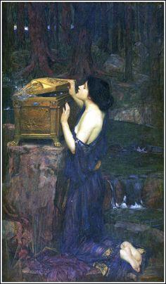 "John Waterhouse (1896) - ""Pandora."" Waterhouse is probably my favorite painter!"