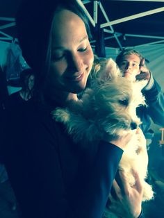 New photo of Josh and Jen on set with a dog!