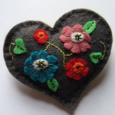 embroidered Felt Flowers & leaves decorate this dark Grey Felt Heart Brooch