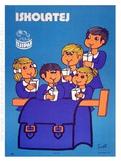 Hungarian poster-school milk
