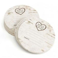 birch tree coasters with space to give the bride and groom advice ... love!