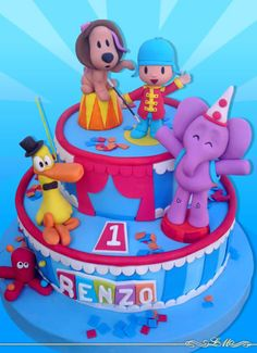 Pocoyo 1 Year Birthday, Boy Birthday Parties, Birthday Cake, Circus Cakes, Minnie Mouse, Cake Art, Amazing Cakes, First Birthdays, Fondant