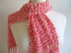 Peach and pink scarf by Annesknits $25.00  thecraftstar, pink scarf, peach scarf, handmade scarf, online shopping, fall accessories