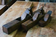 Wooden Try plane, Fore plane, and Smoothing plane