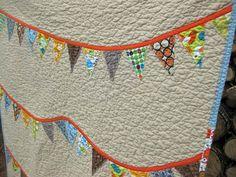 Baby Quilt - Crib Quilt - Modern Banner bunting quilt - orange blue gray grey green