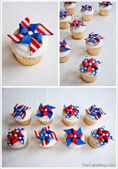 DIY Fondant Pinwheel Cupcakes   TheCakeBlog.com  http://www.thecakeblog.com/2012/07/diy-patriotic-pinwheel-cupcakes.html