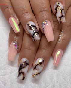 It's better to try marble nail designs. Simple black and white tones can make you look tasty and stand out from the many identical nails! Lime-and-white marble nail designs is like an ink lands Marble Nail Designs, Acrylic Nail Designs, Nail Art Designs, Coffin Nail Designs, Fabulous Nails, Gorgeous Nails, Pretty Nails, Perfect Nails, Summer Acrylic Nails