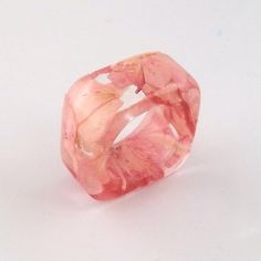 Pink Resin Ring. Botanical Resin Band. by SpottedDogAsheville