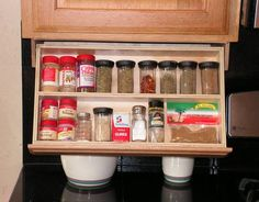 Under Cabinet Spice Rack by WoodenYouLoveThis on Etsy Cabinet Spice Rack, Spice Drawer, Spice Racks, Under Cabinet Drawers, Cabinet Storage, Wood Sample, Diy Kitchen Storage, Food Storage, Storage Ideas