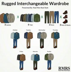 Here are 15 casual clothing items to help you build an interchangeable wardrobe of 162 rugged outfits! - What's missing in your wardrobe? Minimalist Wardrobe Essentials, Mens Wardrobe Essentials, Capsule Wardrobe Men, Fashion Capsule, Mens Clothing Guide, Mens Clothing Styles, Clothing Items, Smart Casual Men, Business Casual Outfits