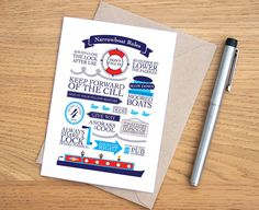 Narrowboat Rules Typographic Card // Canal Lock // by karenwalk