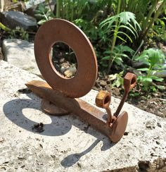 Snail Garden Sculpture / Art : Welded Iron / Recycled Hardware / Hand Forged - Washers, Nuts and Railroad Spike by JLMcArt on Etsy https://www.etsy.com/listing/233846061/snail-garden-sculpture-art-welded-iron