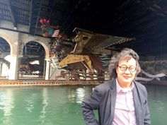 """""""Just like a transformer!"""" Xu Bing and his giant Phoenix, 7yrs in the making. #venicebiennale2015 #TANVenice"""