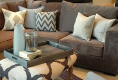 Adore these accent pillows and general neutral color scheme, maybe with a pop of color on one or two pillows?