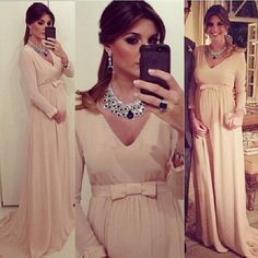 Wholesale Evening Dresses - Buy Chiffon A Line 2015 Evening Dresses With Long Sleeves New Elegant V Neck Maternity Pregnant Clothing Sash Bow Special Occasion Gowns, $56.55 | DHgate