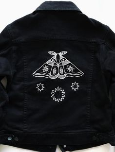 Eradura Hand Embroidered Moth and Stars Black Denim Jacket