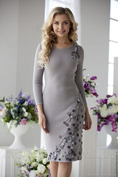 """Knitted warm dress with """"Milky Way"""" smoke-gray color with with handmade decor! Warm Dresses, Elegant Dresses, Nice Dresses, Casual Dresses, Dress Outfits, Fashion Dresses, Girly Outfits, Boho Fashion, Fashion Looks"""