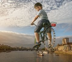 London Eye. Surreal Photo Manipulation with a Son's Help. To see more art and information about Adrian Sommeling click the image.