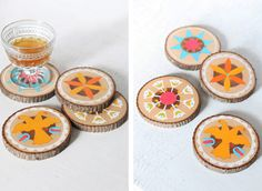 Wood painted coasters in Crafts for decorating and home decor, parties and events