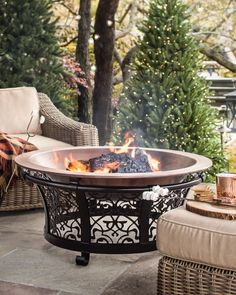Decorative Cast Iron Steel Fire Pit with Copper Bowl | #HolidayEssentials #BalsamHill