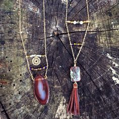 Leather tassel + stone + agate necklaces!   www.caitywrenn.wordpress.com
