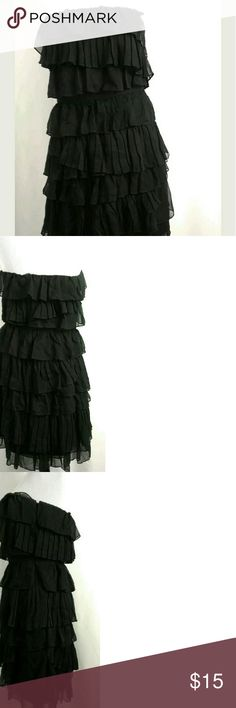 """J.Crew size 8 strapless black waterfall dress J.Crew black waterfall tiered layered ruffles dress. No rips or stains. Measurements are chest 17"""" and total length 29"""". J. Crew Dresses Strapless"""