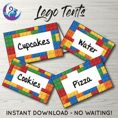 Lego Tents ** Perfect for use as food labels or place cards ** Please note that these cards are NOT editable and are intended to be printed and hand written upon. If wanting to add text digitally you can open the PDF file in a word processing application such as Microsoft World and
