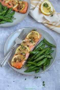 With lack of sleep and an over dose of food, I just needed something quick an… Lemon Recipes, My Recipes, Atlantic Salmon, Lemon Wedge, Fresh Thyme, Baked Salmon, Asparagus, Zucchini, Yummy Food