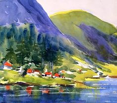Norway Fjord Village by Diane Klock Watercolor ~  x