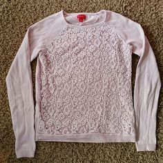 Elle sweater Pink lacy sweater. Material is very soft. Lace is laid on top of material. Great condition. Elle Sweaters Crew & Scoop Necks