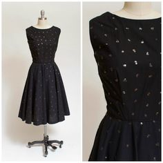 1950s Vintage Dress Black Cotton with Sequins by stutterinmama