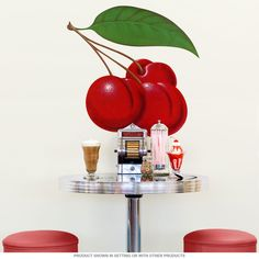 This large-size set of Cherry Wall Decals adds retro color and style to your kitchen or diner. Printed on durable polyester fabric with a matte finish, this assortment of cherries is perfect for your vintage decor. Apple Kitchen Decor, Red Kitchen, Kitchen Themes, Vintage Kitchen, Kitchen Dining, Kitchen Ideas, Dining Room, Removable Wall Decals, Wall Sticker