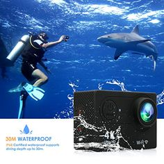 FITFORT Action Camera 4K WiFi Ultra HD Waterproof Sport Camera 2 Inch LCD Screen 12MP 170 Degree Wide Angle 2 Rechargeable 1050mAh Batteries Free Travel Bag Include 19 Accessories Kits | Action Cameras And Accessories