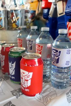 Transformers birthday party ideas. Customize your beverages with themed labels!