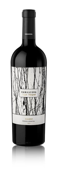 The use of hand generated, ink strokes works well for this wine label as it alludes to ideas of hand made, organic and naturally sourced materials. Rough textured background is balanced by simple typography centred in the middle of the label.