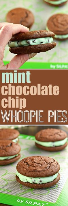 Mint Chocolate Chip Whoopie Pies are just the right amount of green to make them perfect for St. Patrick's Day.