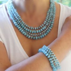 MOTHER'S DAY SALE !!! Bead Necklace with matching  three bracelets Blue by CharmByIA,
