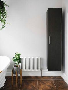 Bathroom Behind The Door Storage - A Luxury Bathroom Makeover In An Edwardian Home Towel Storage, Door Storage, Storage Shelves, Storage Ideas, Hanging Storage, Storage Baskets, Organization Ideas, Bathroom Wall Shelves, Bathroom Storage