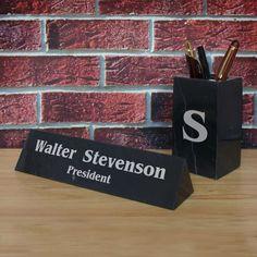 Design's Ultimate Black Marble Desk Set with Nameplate Pen Holder Business Card Holder Organizer and Letter Opener with Font Selection by DesignstheLimit #TrendingEtsy