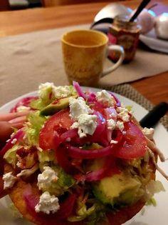Cilantro, Queso Cotija, Frijoles Refritos, Ethnic Recipes, Food, Tostada Recipes, Lettuce, Juices, Ethnic Food