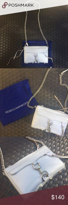 BRAND NEW Rebecca Minkoff Mini MAC crossbody bag! BRAND NEW BAG!!!! NEVER USED!!!! Includes dust bag and stuffing! This bag is super cute and great for everyday! A very pretty light blue color with silver hardware! Perfect for summer! Rebecca Minkoff Bags Crossbody Bags
