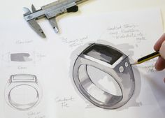 Stephen Einhorn inital sketches for his Oxford ring. Taken in our London workshops