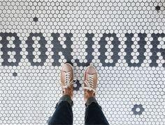 sneaker style Tile Art, Mosaic Tiles, Cement Tiles, Tiling, Floor Design, House Design, Modern Floor Tiles, Penny Tile, Rustic Restaurant