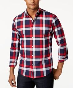 TOMMY HILFIGER Tommy Hilfiger Men'S Big &Amp; Tall Berkeley Large-Plaid Shirt . #tommyhilfiger #cloth #down shirts