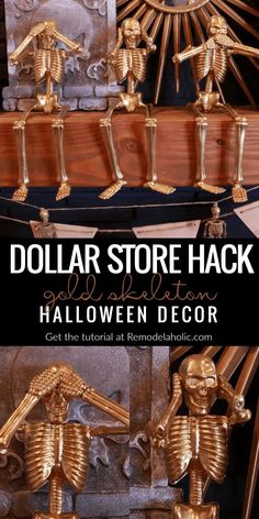 VIDEO: Fast, cheap and easy DIY Halloween decorations! Make your mantel spooky and silly with this funny gold skeleton trio, made from inexpensive dollar store skeletons and a bit of craft paint. #remodelaholic #dollarstore #Halloweendecor Diy Halloween Party, Cheap Halloween Decorations, Hallowen Ideas, Fairy Halloween Costumes, Halloween Snacks, Dollar Tree Halloween Decor, Halloween Projects, Holoween Decorations, Cheap Easy Halloween Costumes