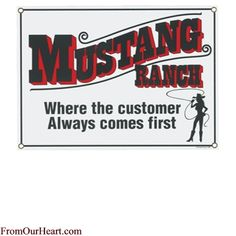 Mustang Ranch Porcelain Sign by Ande Rooney. Measures 11 11/16 x 8 3/8. $17.00