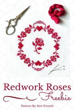 Pretty Red Roses Cross Stitch Freebie! Silk or DMC floss. romantic. vintage. redwork. embroidery. needlecraft. handmade. DIY. projects. patterns. craft. hand sewing. roses. hearts. French. decor. shabby chic. sweet. beautiful.                                                                                                                                                      More