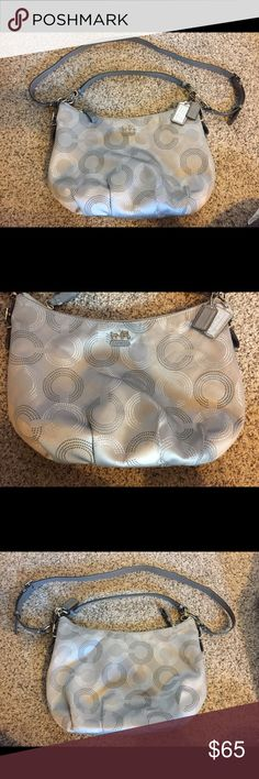 """Great condition! Coach Hobo Crossbody purse Great condition! Soft cloth gray Coach hobo style bag with silver """"C's"""". Has a removable and adjustable cross body strap or use the small strap as a shoulder bag.  Length 13.5"""" Height 9.5"""" Coach Bags Crossbody Bags"""