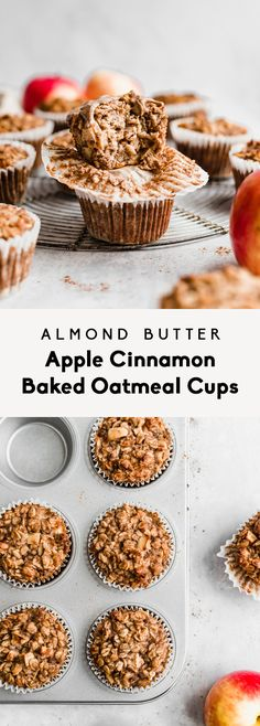 Easy and delicious almond butter apple cinnamon baked oatmeal cups made with applesauce, natural almond butter, oats, cozy spices, and naturally sweetened with a touch of maple syrup. You're going to The Oatmeal, Cinnamon Oatmeal, Apple Oatmeal, Cinnamon Apples, What Is Healthy Food, Good Healthy Recipes, Eat Healthy, Healthy Nutrition, Paleo Diet